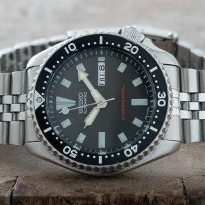 Seiko SKX173 Divers Watch Jubilee bracelet 150M Day Date Original Men #0333