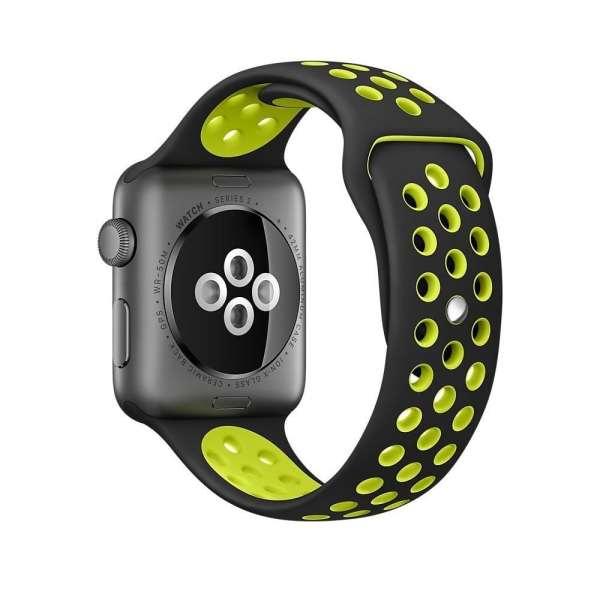 sport bandje voor de Apple Watch-Zwart-Geel-003