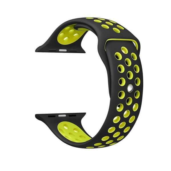 sport bandje voor de Apple Watch-Zwart-Geel-005
