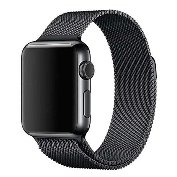 Milanese Loop rvs zwart bandje voor de Apple Watch 42mm