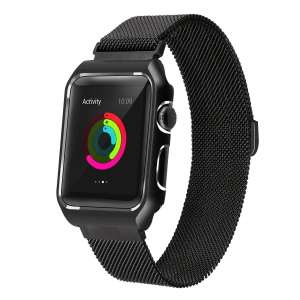 2 in 1 vervangend Apple Watch Band Milanese Loop zwart en cover roestvrij staal vervangende band voor iWatch 38mm-004