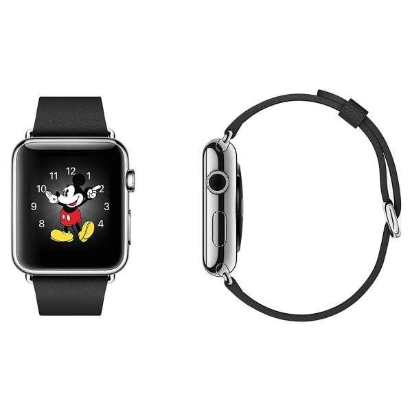 Luxe Classic Lederen armband voor de Apple Watch (38mm) zwart-002