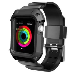 2 in 1 vervangend Siliconde Apple Watch bandje zwart en cover voor Apple Watch Series 1-2-3 (38mm)_009