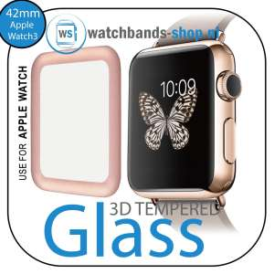 42mm full Cover 3D Tempered Glass Screen Protector For Apple watch iWatch 3 rose gold edge-001