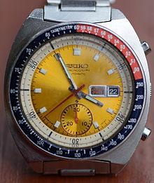 "Seiko_Automatic-Chronograph_Cal._6139_mit_gelbem_Zifferblatt,_die_sogenannte_""Pogue_Seiko"""