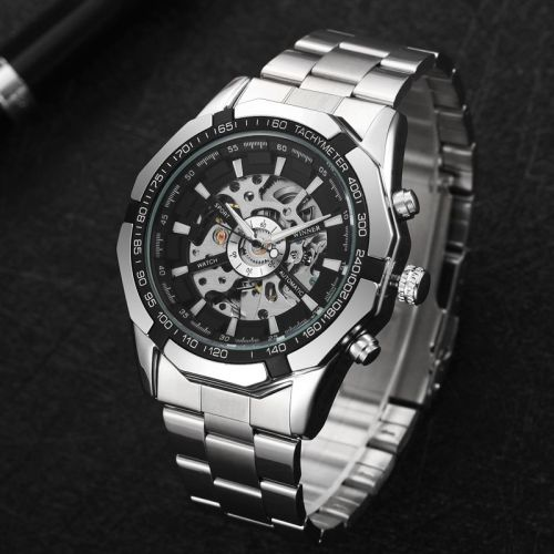 Winner Full Stainless Steel Auto Mechanical Watch For Men