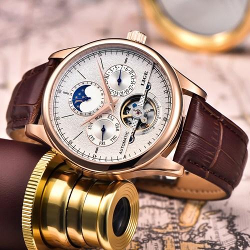 LIGE men automatic mechanical tourbillon watch