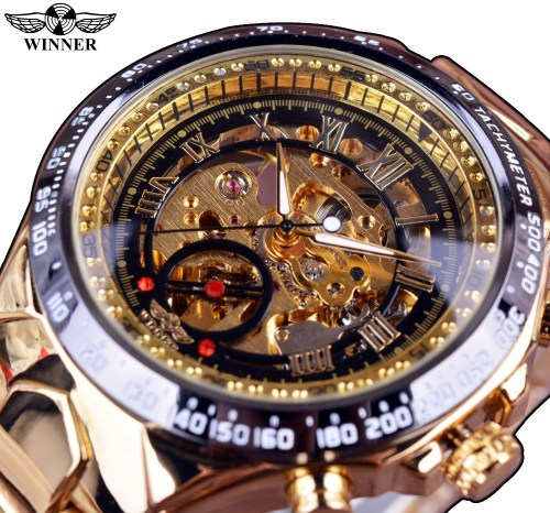 Winner Golden Bezel Automatic Watch