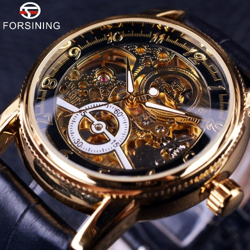 Forsining Hollow Engraving Skeleton Automatic Mechanical Watch