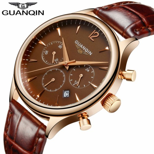 GUANQIN Men's Chronograph Leather Strap Quartz Watch