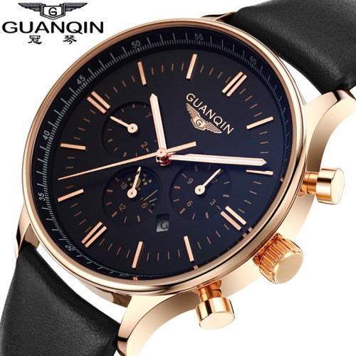 GUANQIN Men Watch Luxury Fashion Casual Waterproof Quartz