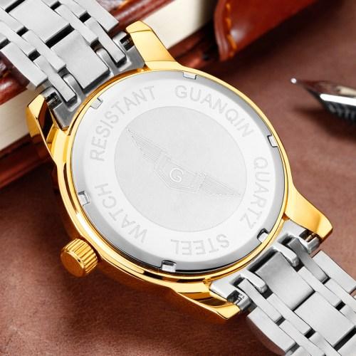 GUANQIN Men Gold Dragon Sculpture Quartz Watch