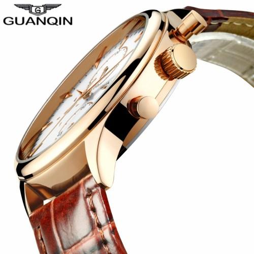 GUANQIN Men's Chronograph Leather Strap Quartz Watch