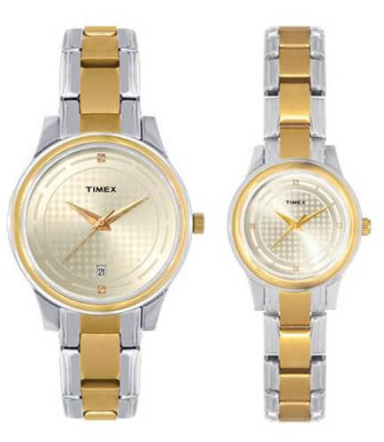 Timex Classics Analog Gold Dial Couple's Watch – TI00PR18200