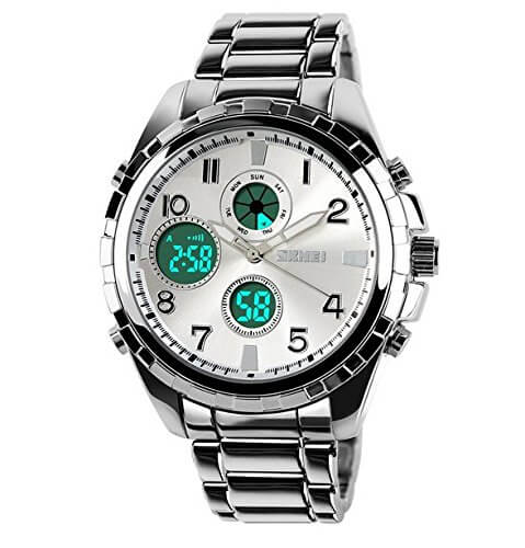 SKMEI Analog Digital Multifunction Steel Silver Dial Watch for Men – 1030