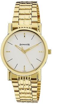Sonata Analog White Dial Men's Watch – NF7987YM05J