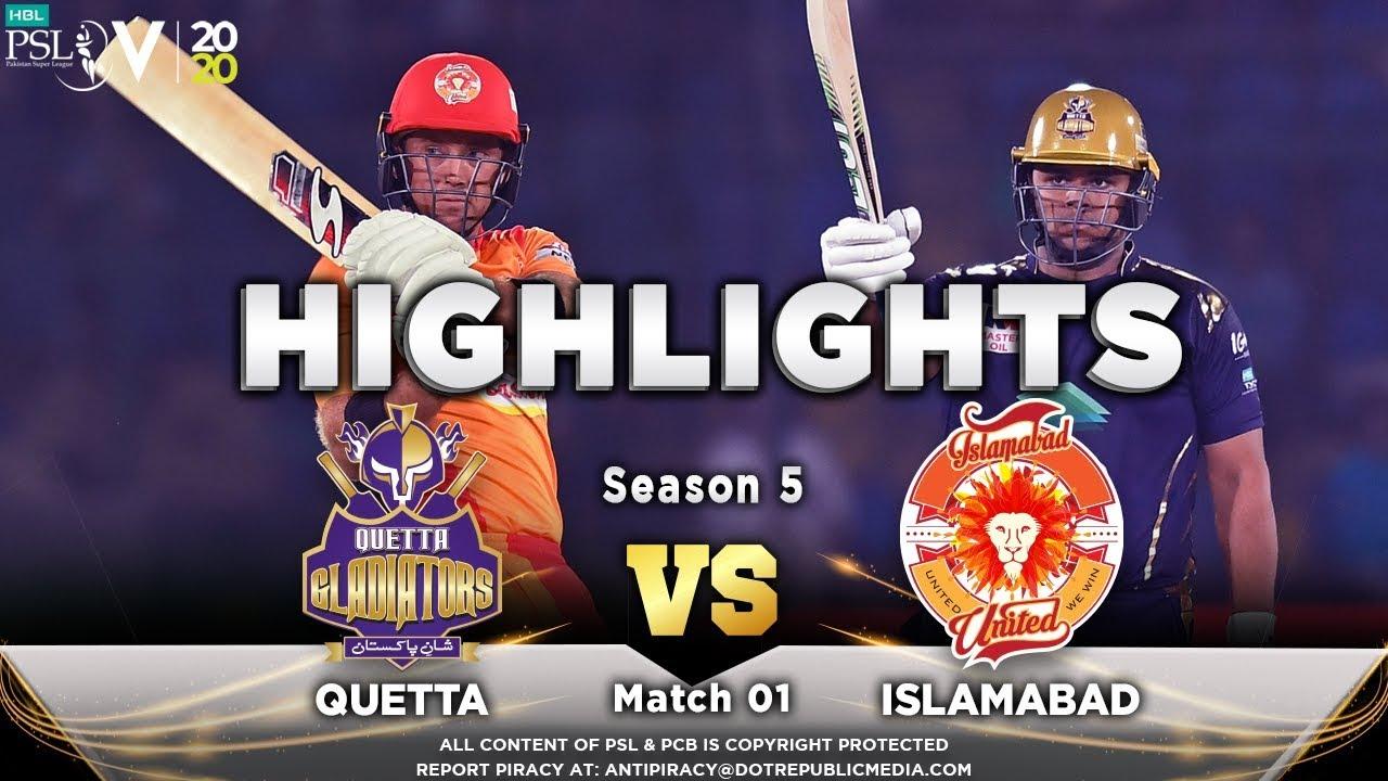 Quetta Gladiators vs Islamabad United – Match Highlights | 20 Feb 2020 | HBL PSL 2020