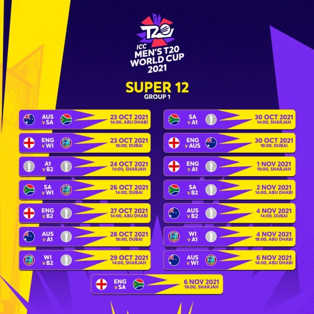 T20 World Cup Super 12 Group 1 Schedule