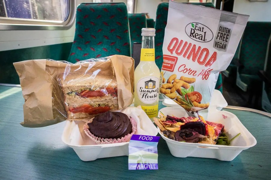 A vegan lunch pack from Food from Argyll at the Pier in Oban.