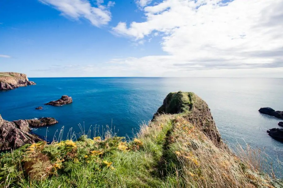 The cliffs and sea view at Bullers of Buchan in Aberdeen.
