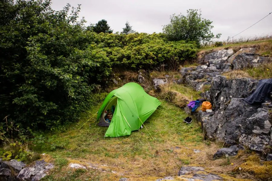 Camping next to Hamesay Hotel in Loch Maddy on North Uist.