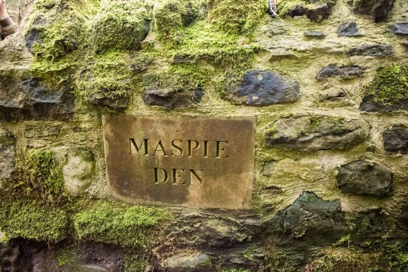 The sign at the entrance of Maspie Den in Scotland.