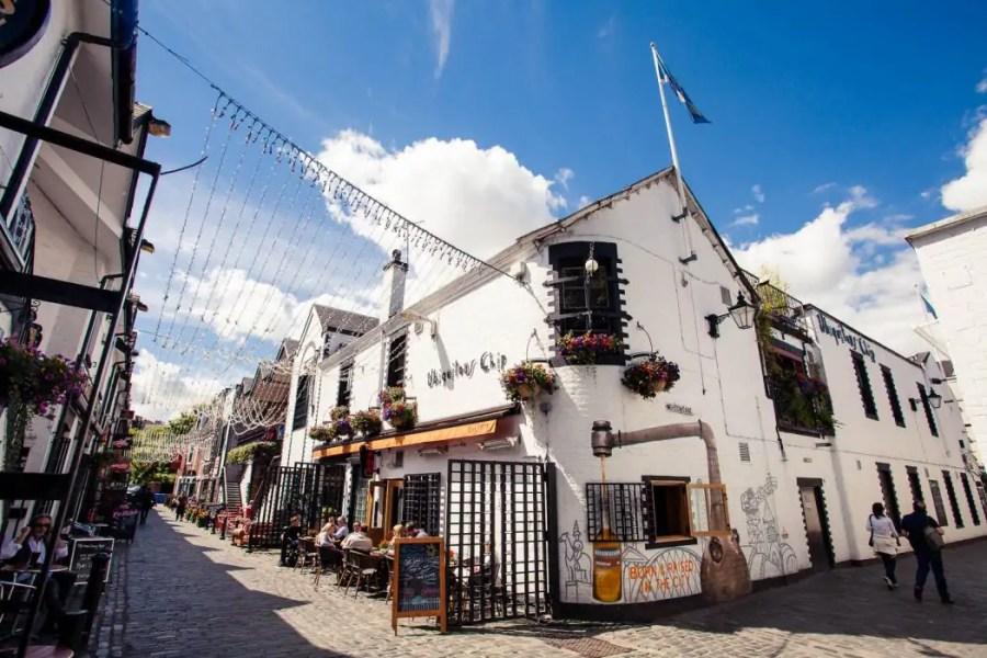 The famous Ubiquitous Chip restaurant and pub on Ashton Lane in Glasgow.