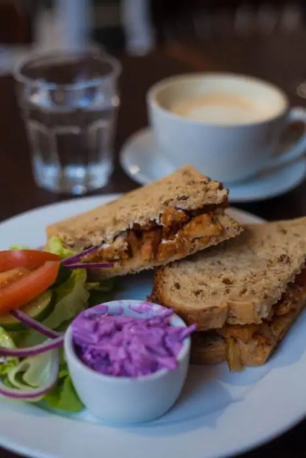 A pakora toastie at the V&V Cafe Glasgow.