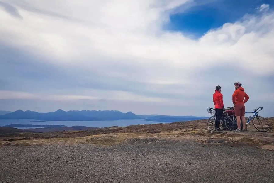 Cyclists on the Applecross road Bealach na ba pass road