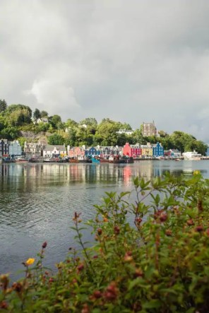 View of the colourful houses along Tobermory harbour.