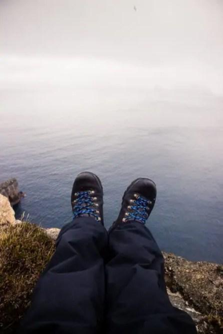 My feet in Zamberlan hiking boots.