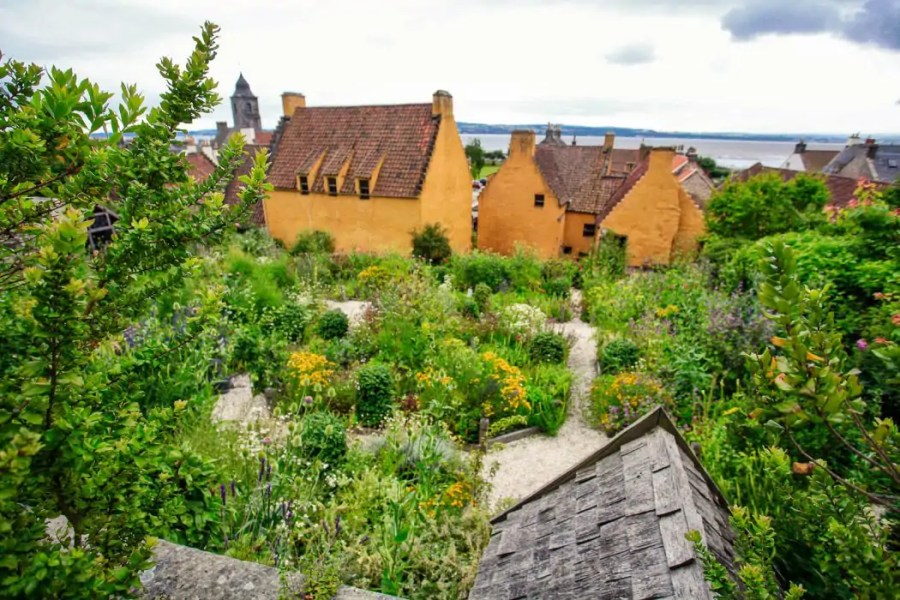 The herb and flower garden behind Culross Palace in Scotland.