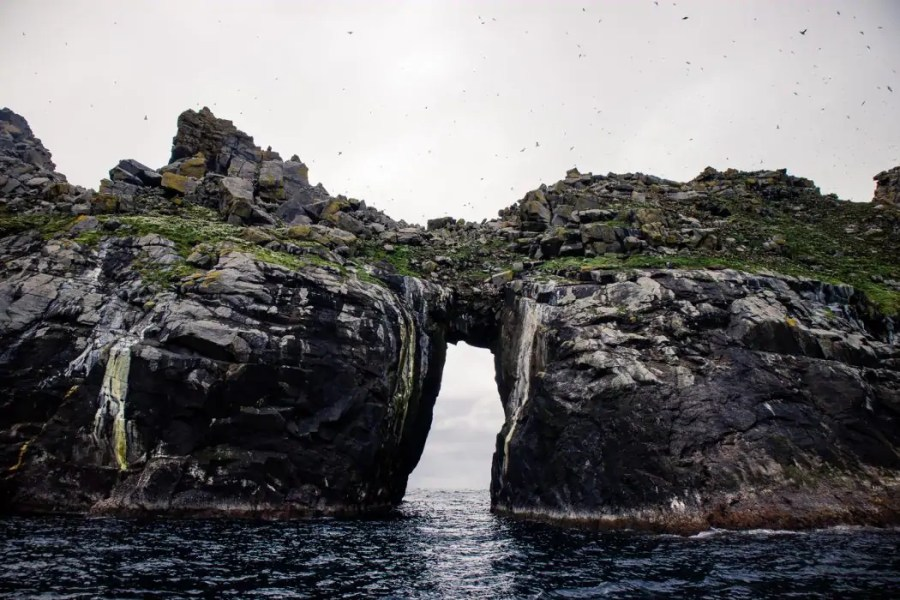 Puffin colony on Dun island and gap in rocks