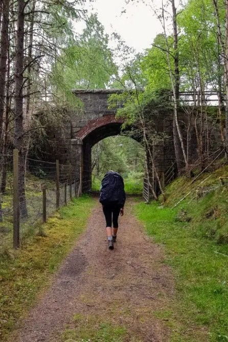 Carrying a backpack along the Speyside Way.