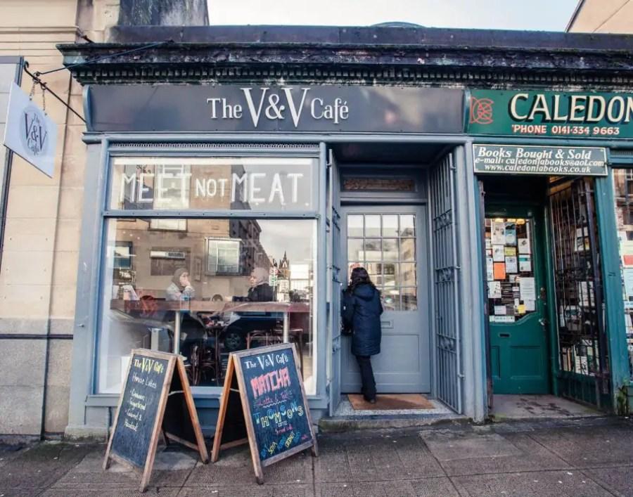 The shop front of the vegan V & V Cafe in Glasgow.