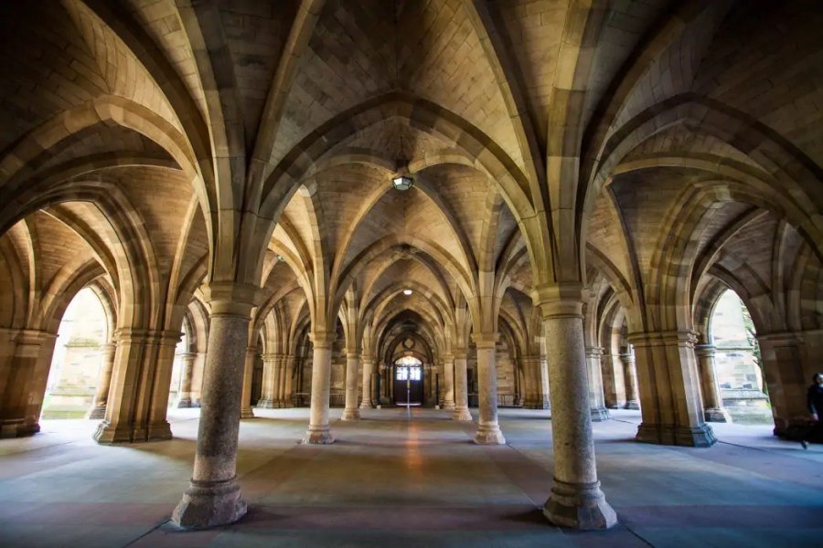 The iconic Cloisters at the University of Glasgow look like a Harry Potter location.