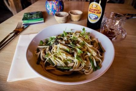 Vegan veggie linguine at The Treehouse Restaurant in Alnwick.