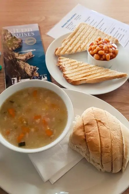 A vegan soup at Berneray Bistro on the Isle of Berneray.