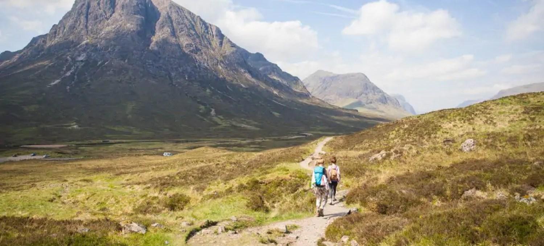 Hiking along the West Highland Way.