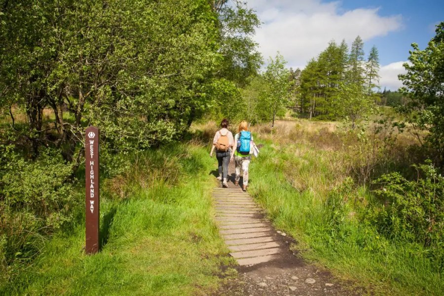 Two women walking the West Highland Way.