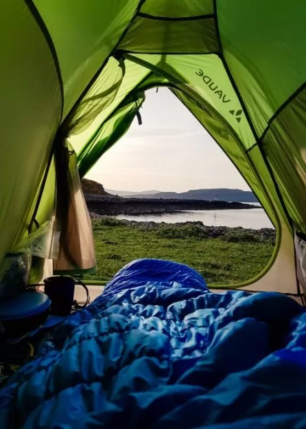 The view from my tent at Kilchattan Bay on the Isle of Bute.