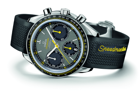 This Omega Speedmaster has a traditional tachymeter bezel graduated from 60 to 500 kilometers per hour.