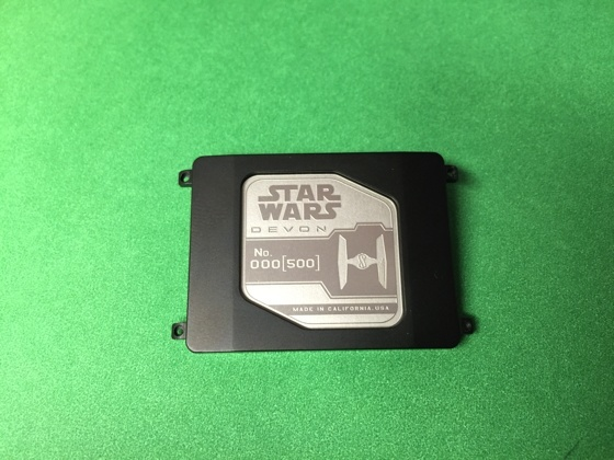 The engraved, numbered caseback of the Star Wars Devon watch