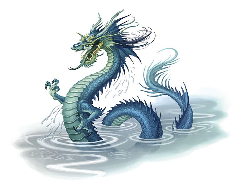 Dragon chinois sortant de l'eau