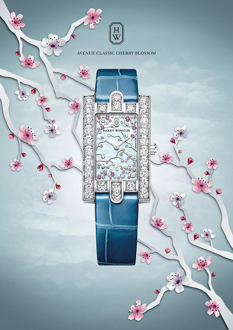 Harry Winston: The Avenue Collection - Avenue Classic Cherry Blossom - Front avec cerisier