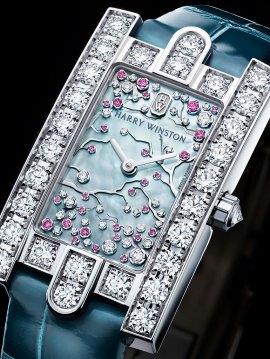 Harry Winston The Avenue Collection: Avenue Classic Cherry Blossom - Front View - Bracelet sur noir