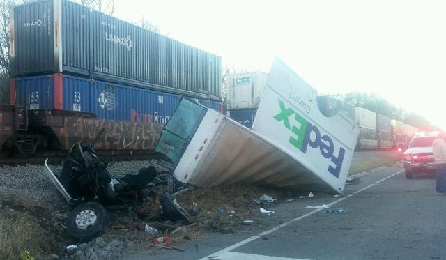 FedEx truck destroyed after colliding with train in Tennessee