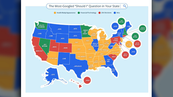 MAP: Your state's most Googled 'Should I' question of 2018 Google D World Map on microsoft world map, coca-cola world map, gaming world map, cities in greenland on a map, blank world map, bing world map, hp world map, google search, geocoin world map, agile world map, google maps street view, barnes & noble world map, national geographic world map, palm world map, apps world map, att world map, security world map, pepsi world map, google earth,