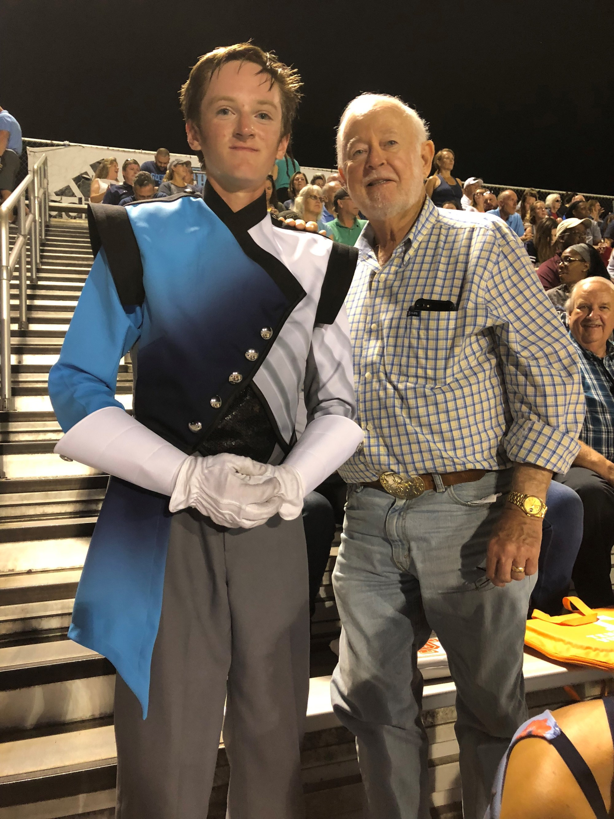 Ken Weathers: My dad and son when they came to visit last year and watch my son perform in his high school marching band.