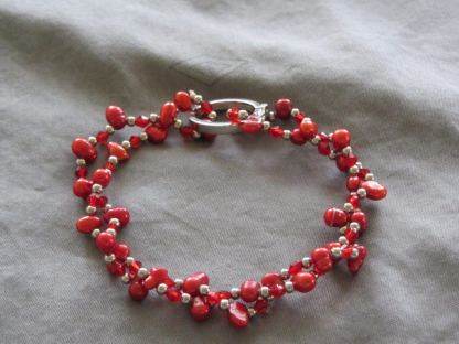 Nugget pearl bracelet red 1